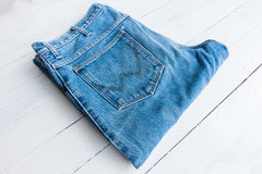 Blue jeans. Close up blue thouser jeans isolated on white royalty free stock photography