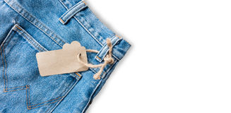Blue jeans. Close up blue thouser jeans isolated on white royalty free stock photo