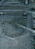 Blue jeans con la casella a priorità bassa. Immagini Stock