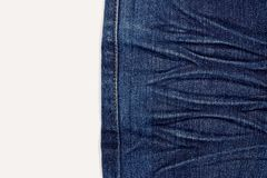 Blue jeans crease. On white background stock photography