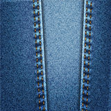 Blue Jeans Denim Fabric Texture With Stitch. Blue Jeans Denim Fabric Texture With Yellow Seam Stitch Stock Photos