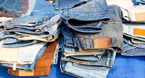 Blue jeans denim fashion pants mixed stacked Stock Image