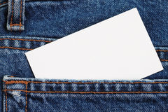 Blue jeans detail with blank badge Royalty Free Stock Photo