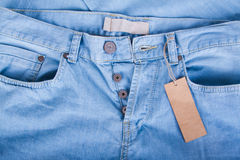 Blue jeans detail with blank label Stock Photos
