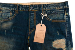 Blue jeans detail blank tag paper jeans label Royalty Free Stock Photos