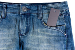 Blue jeans detail blank tag paper jeans label Royalty Free Stock Image