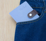Blue jeans detail with vip card Royalty Free Stock Photo