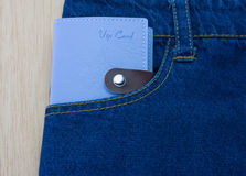 Blue jeans detail with vip card Royalty Free Stock Photos