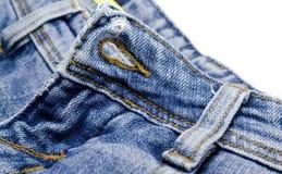 Blue jeans details. Close up Stock Photos