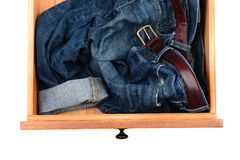 Blue Jeans in Drawer Stock Photography