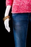 Blue jeans e braccialetto dell'oro Fotografia Stock