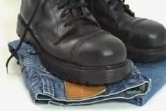 Blue jeans e caricamenti del sistema Fotografia Stock Libera da Diritti