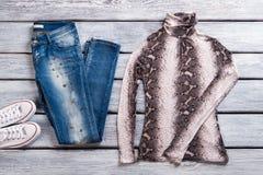 Blue jeans e cima casuali Fotografia Stock