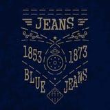 Blue jeans emblem Stock Photo