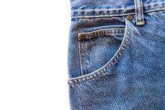Blue jeans fabric with front pocket on white isolated background Royalty Free Stock Images
