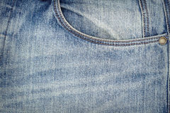 Blue jeans fabric with pocket Stock Photography