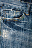 Blue jeans fabric with pocket Royalty Free Stock Photography