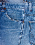 Blue jeans fabric with pocket background.  Stock Image