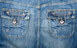 Blue jeans fabric with pockets Stock Image