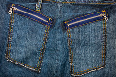 Blue jeans fabric with pockets Stock Photo