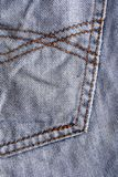 Blue jeans fabric with Seam. Texture Stock Photo