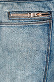 Blue jeans fabric with zipper Royalty Free Stock Images