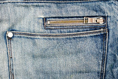 Blue jeans fabric with zipper Royalty Free Stock Photo