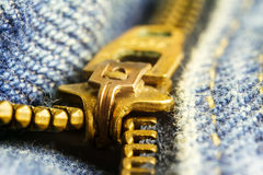 Blue jeans, gold zipper fly, macro image. Royalty Free Stock Photos