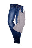 Blue jeans and gray shirt Stock Image
