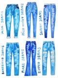 Blue jeans. Hand drawn watercolor illustration. Blue jeans. Mom jeans, high waist jeans, boyfriend jeans, skinny jeans, ripped jeans, flare jeans. Hand drawn Stock Photos