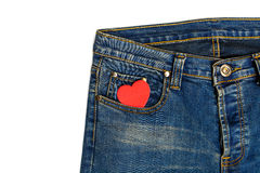 Blue jeans with heart shape Royalty Free Stock Image