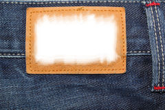 Blue jeans label. With white field to be filled with text Royalty Free Stock Photography