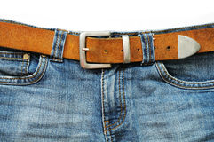 Blue jeans and leather belt Royalty Free Stock Image