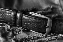 Blue jeans with leather belt so close Royalty Free Stock Photos