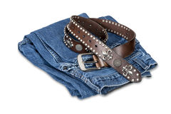 Blue jeans and leather belt Royalty Free Stock Photos
