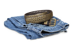 Blue jeans and leather belt Royalty Free Stock Images