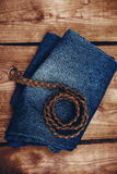 Blue Jeans with leather belt Stock Photography