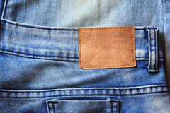 Blue jeans with leather label Royalty Free Stock Photo