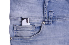 Blue jeans with lighter. Blue jeans. Blue jeans pocket with lighter Stock Images
