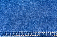Blue jeans material with stitched stripe track texture background Royalty Free Stock Photography