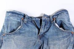 Blue Jeans mit whitebackground Lizenzfreie Stockbilder