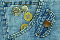 Blue jeans and money Royalty Free Stock Photography
