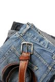 Blue jeans with old brown belt Royalty Free Stock Photos