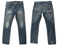 Blue jeans. A pair of mans blue jeans isolated Royalty Free Stock Images