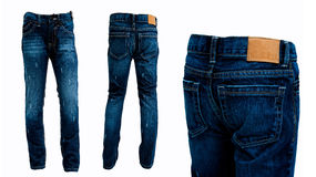 Blue jeans pants isolated front and rear. White background Stock Photography