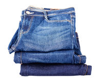 Blue jeans. Photo of many blue jeans in one place Stock Images