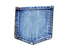 Blue jeans pocket. With yellow stitch isolated on white Stock Photos