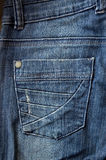 Blue jeans pocket. Close up photo Royalty Free Stock Photo