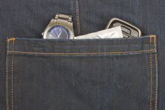 Blue jeans pocket. With staff Royalty Free Stock Photos