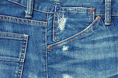 Blue jeans pocket. Stock Photo